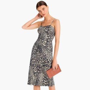 J.Crew Strappy Bodice Dress in Leopard Jacquard